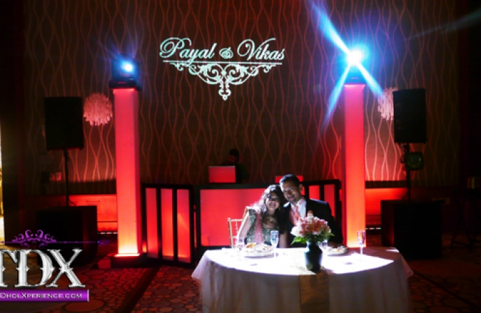 1-TDX-DJ-booth-with-Personalized-Gobo-and-Spotlight-on-Bride-and-Groom